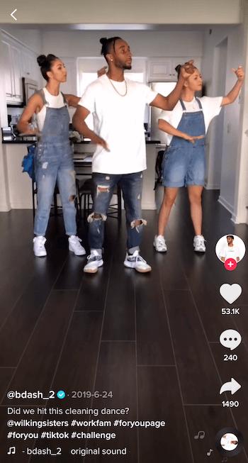 TikTok challenge-video met drie dansende mensen
