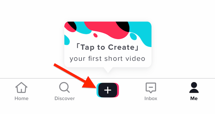 Tap to Create Your First Short Video popup on TikTok