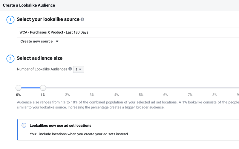 create Facebook lookalike audience based on purchases of a specific product