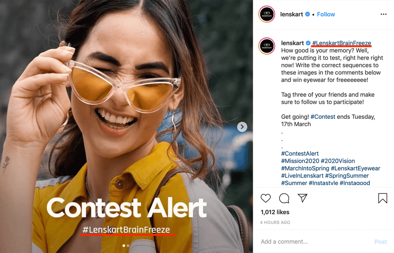 example of Instagram contest post that includes branded hashtag in image and caption