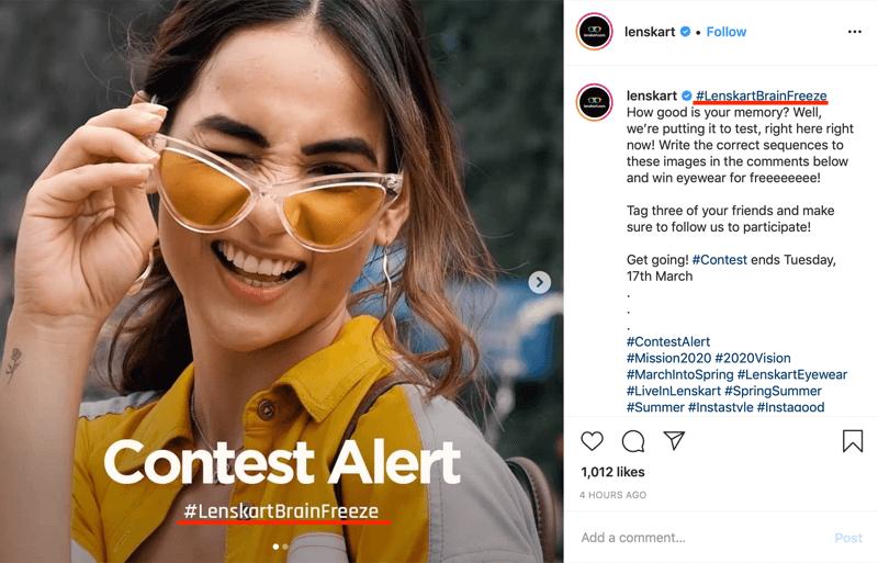 voorbeeld van een Instagram-wedstrijdpost met hashtag van het merk in afbeelding en bijschrift
