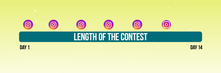 graphic depicting timeline of promotional posts for Instagram contest