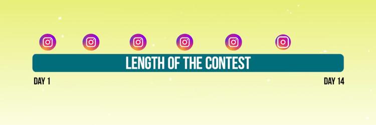 grafische weergave van de tijdlijn van promotionele berichten voor de Instagram-wedstrijd