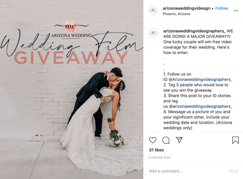 example of Instagram contest with higher value prize