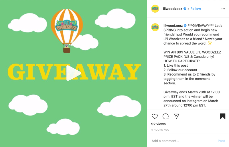 example of Instagram giveaway post