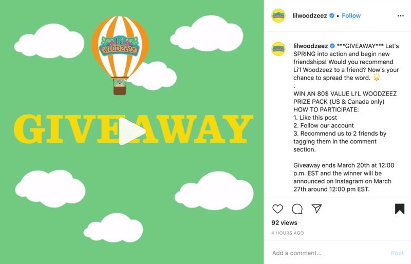 voorbeeld van een Instagram-weggeefpost