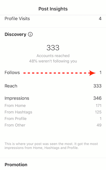 total follows in Post Insights for Instagram business post
