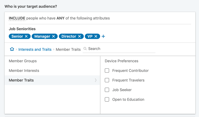 setting up LinkedIn ad targeting for member traits