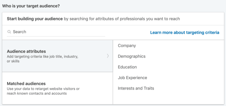 audience attributes for LinkedIn ads