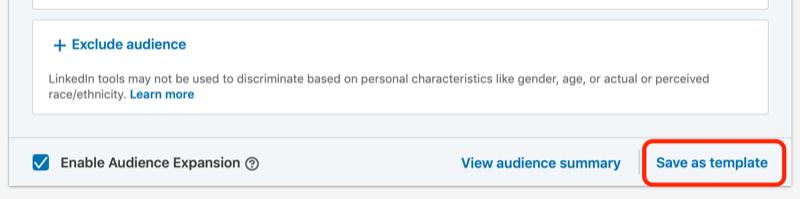Opzione Salva come modello per gli annunci LinkedIn
