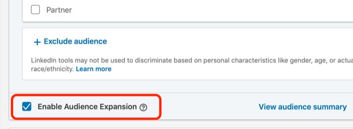 Abilita la casella di controllo Espansione pubblico per il targeting degli annunci di LinkedIn