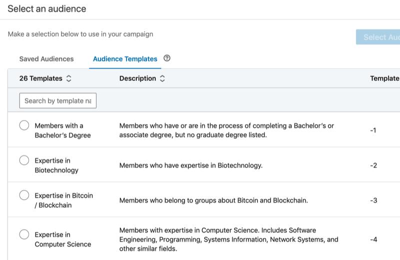 elenco completo dei modelli di pubblico di LinkedIn, insieme alle descrizioni