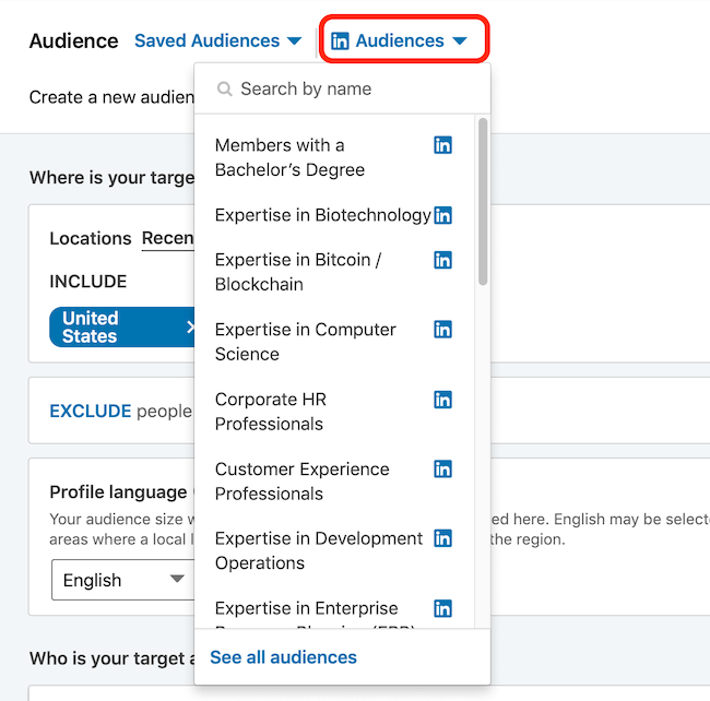 LinkedIn audience templates drop-down menu