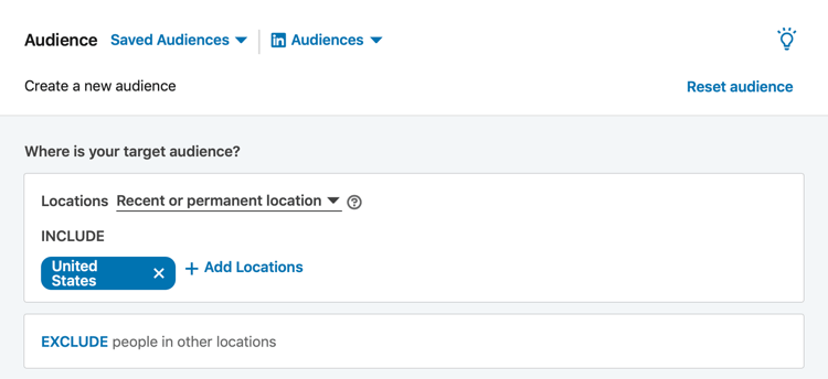LinkedIn Audience section during campaign setup