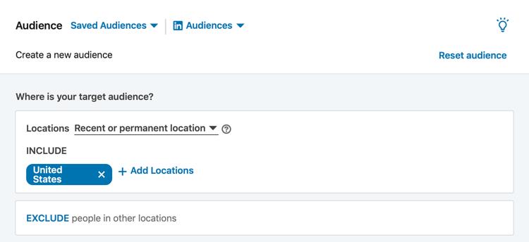 Sezione Pubblico LinkedIn durante l'impostazione della campagna