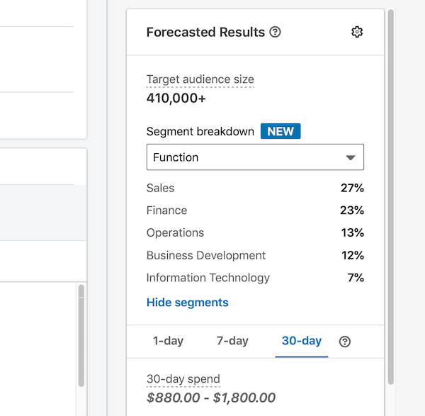 forecasted results for LinkedIn ad campaign based on audience selection