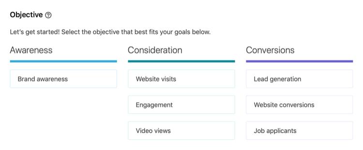 obiettivi della campagna LinkedIn disponibili