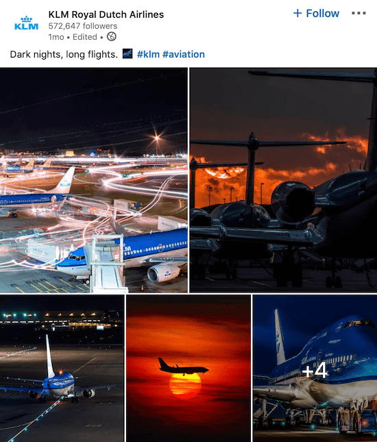 KLM LinkedIn page post for multiple photos