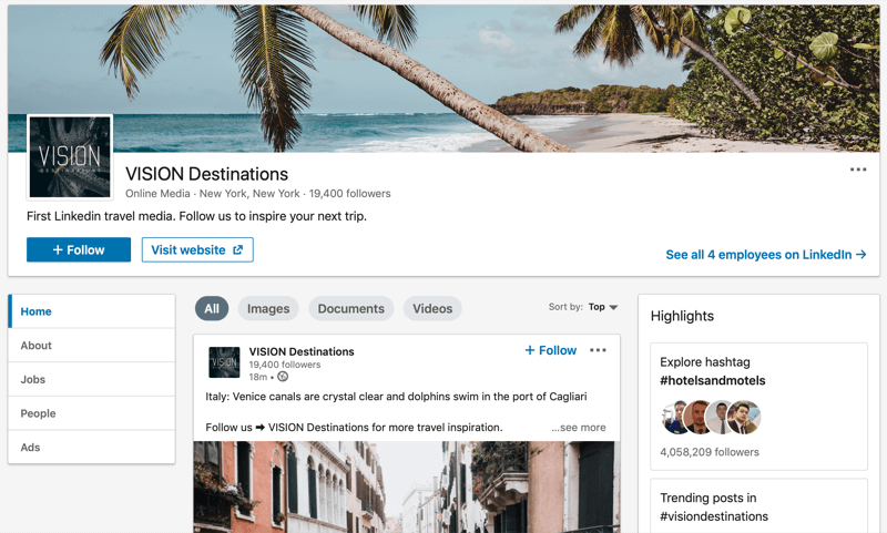 LinkedIn company page for VISION Destinations