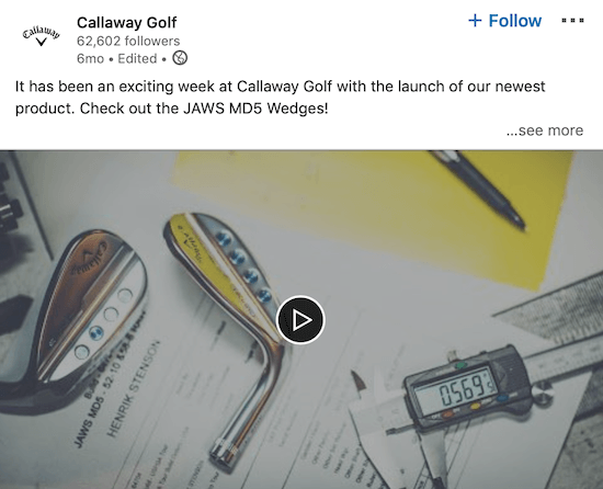 Callaway Golf LinkedIn video announcing new product