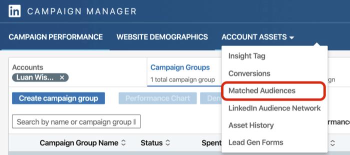 seleziona Pubblico abbinato dal menu a discesa Risorse account in Gestione campagne LinkedIn