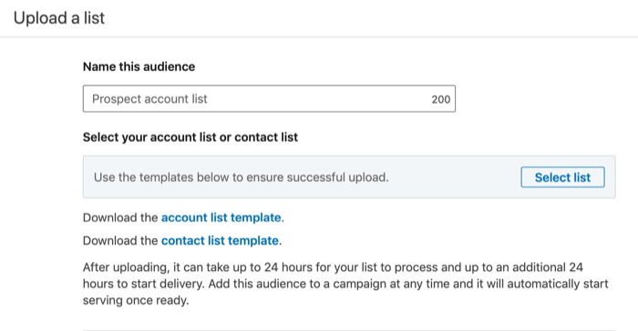 Upload a List dialog box for creating Match Audience from file