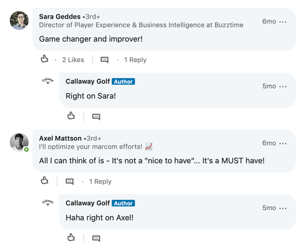LinkedIn member comments for Callaway Golf post
