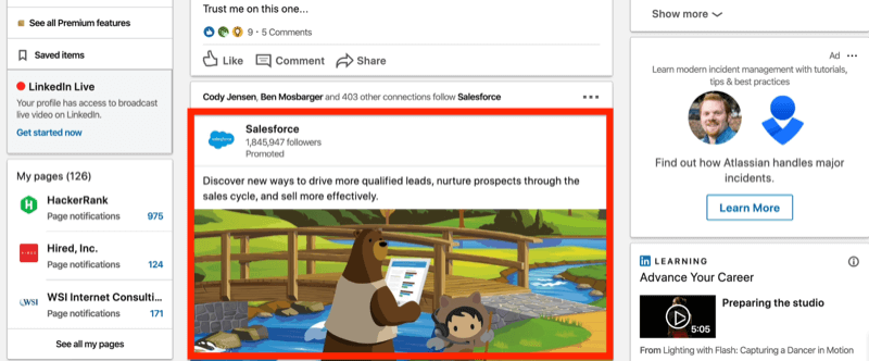 example LinkedIn sponsored content ad in news feed