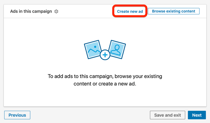 Create New Ad option in LinkedIn campaign setup