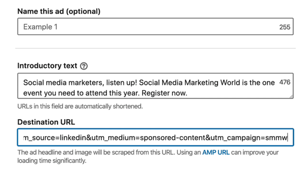 set up ad in LinkedIn campaign