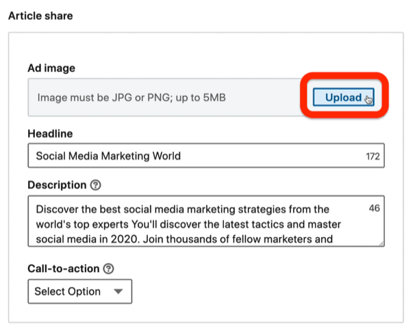 remove image from ad during LinkedIn campaign setup