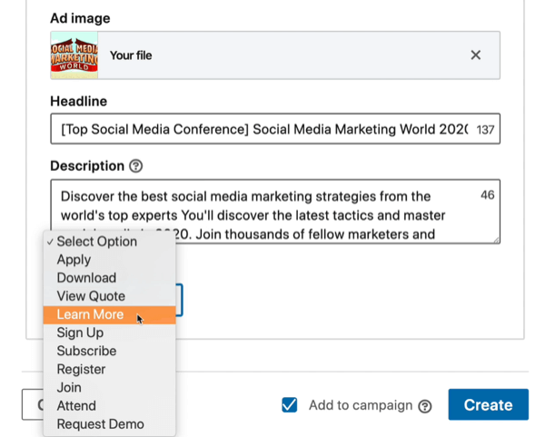 CTA options for LinkedIn campaign