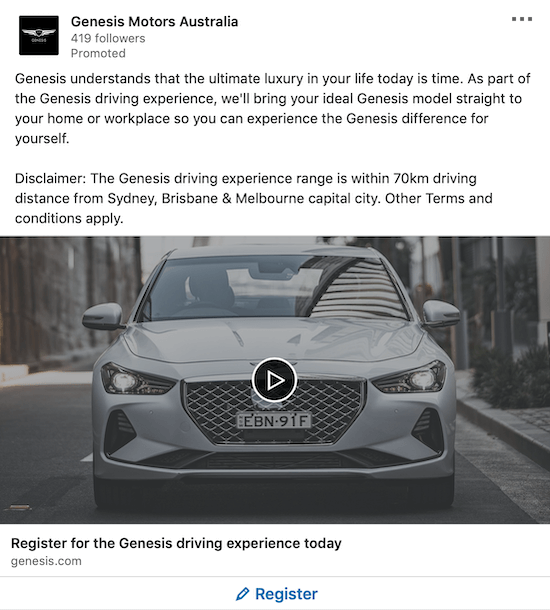 LinkedIn lead generation ad for Genesis Motors