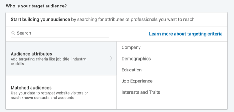 Who Is Your Target Audience section in LinkedIn Campaign Manager