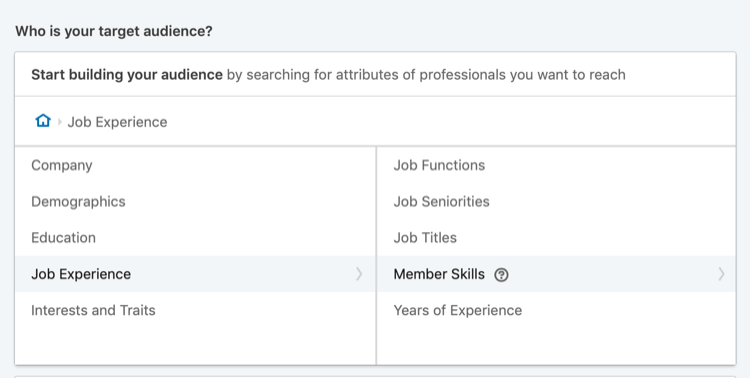 target LinkedIn sponsored content to member skills