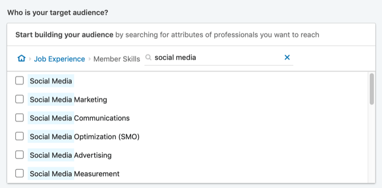 results of search for 'social media' for LinkedIn member skills targeting