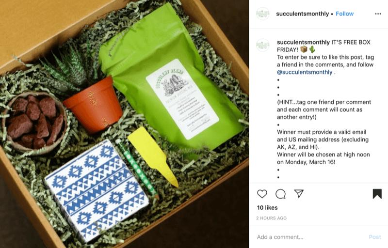 voorbeeld van een simpele Instagram-wedstrijd