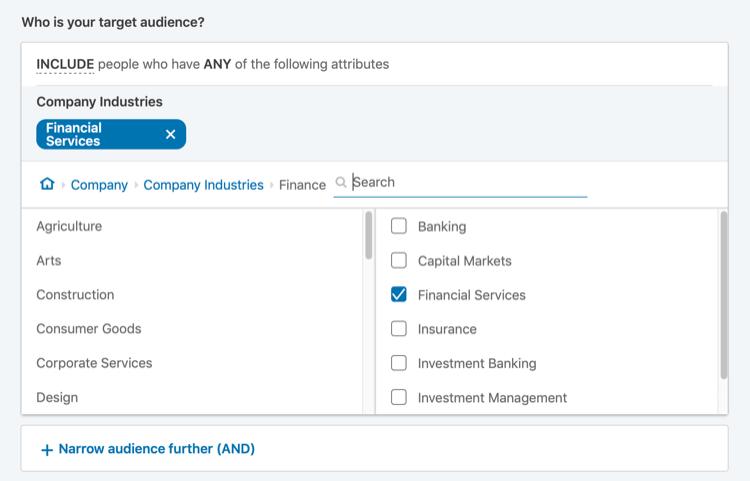 indirizzare gli annunci LinkedIn per settore