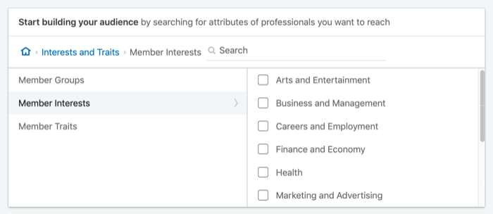 target LinkedIn ads by member interests