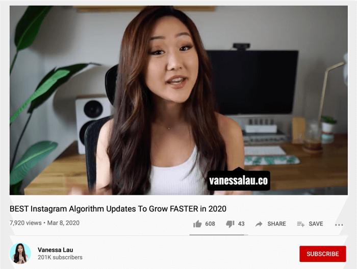 Vanessa Lau YouTube video sharing Instagram handle