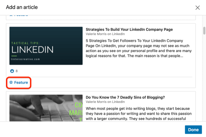 add article to LinkedIn Featured section