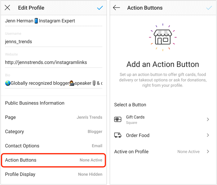add Order Food or Gift Cards action button to Instagram profile