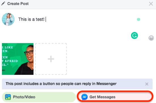 Get Messages option for Facebook page post