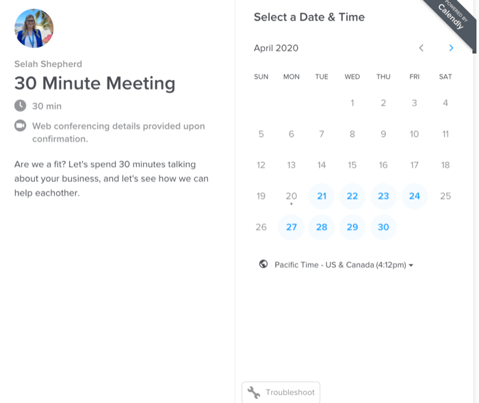 set up appointment for virtual shopping session through Calendly