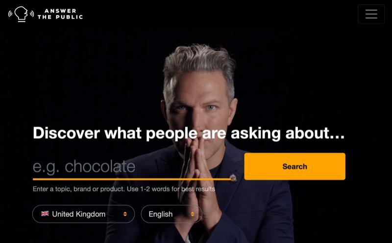 screenshot van de startpagina voor Ask the Public