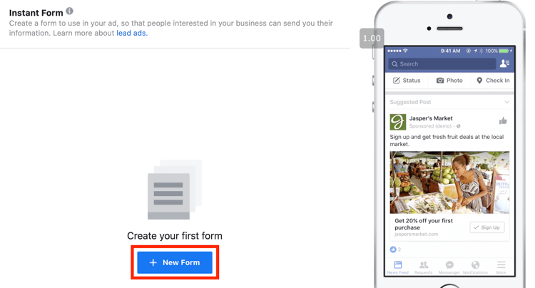 option to create form for Facebook Lead Generation campaign