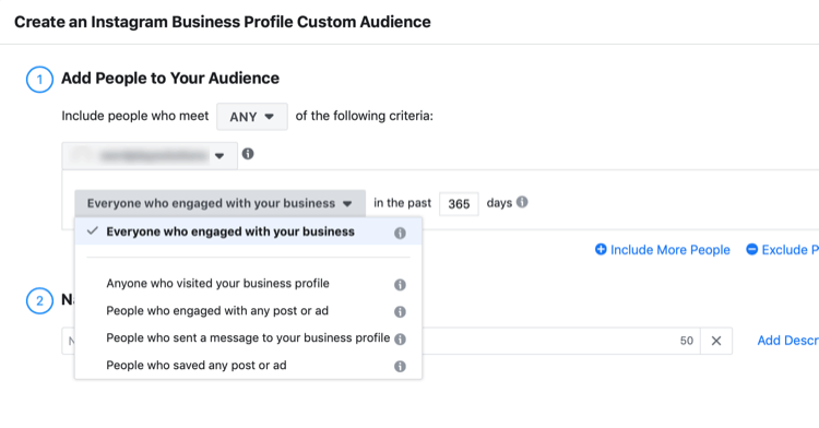 Create an Instagram Business Profile Custom Audience dialog box