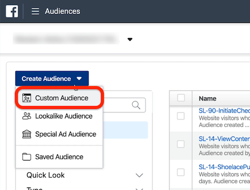 Create Audience drop-down menu in Audiences section of Ads Manager