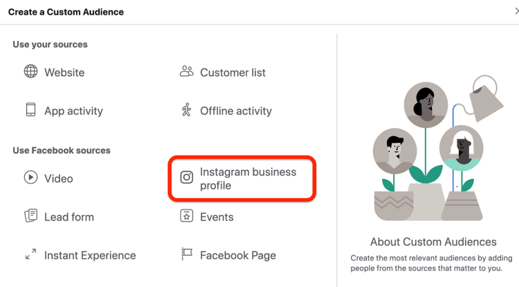 Instagram Business Profile option selected in Create a Custom Audience dialog box