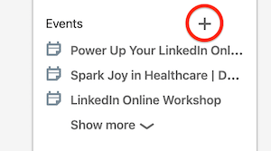 Events section on LinkedIn home page